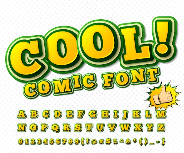 Carattere comico alfabeto giallo-verde in stile di fumetti, pop art.