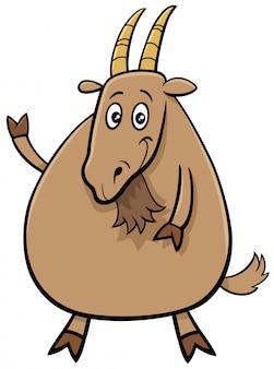 Carattere comico del fumetto animale da fattoria divertente capra