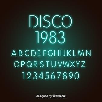 Carattere con alfabeto in stile neon