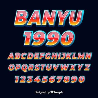 Carattere con alfabeto in stile sfumato