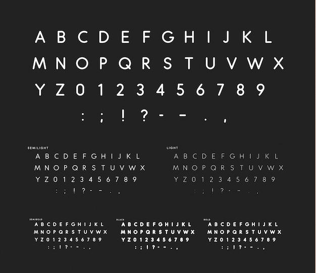 Carattere con angoli morbidi, alfabeto sans serif lineare