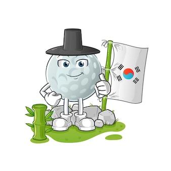 Carattere coreano della pallina da golf. mascotte dei cartoni animati