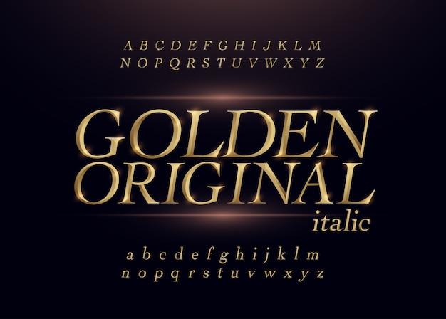 Carattere corsivo alfabeto oro cromato metallo color oro elegante.