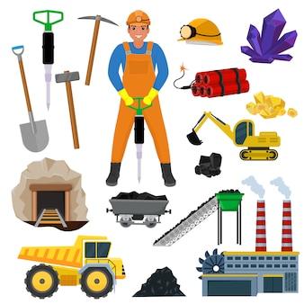 Carattere costruttore minatore minatore nel casco minerario minerali di carbone nel tunnel di rocce con escavatore o pala di potenza illustrazione set di attrezzature di costruzione industriale isolato su sfondo bianco