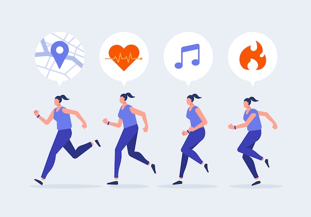 Carattere da jogging di donne con smartwatch. stile di vita sano con illustrazione di vettore di concetto di dispositivi di tecnologia.