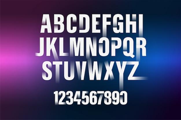 Carattere decorativo di alfabeto e numeri gradiente bianco. tipografia moderna. condensato e audace.