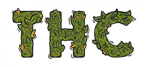 Carattere decorativo di marijuana verde con scritta