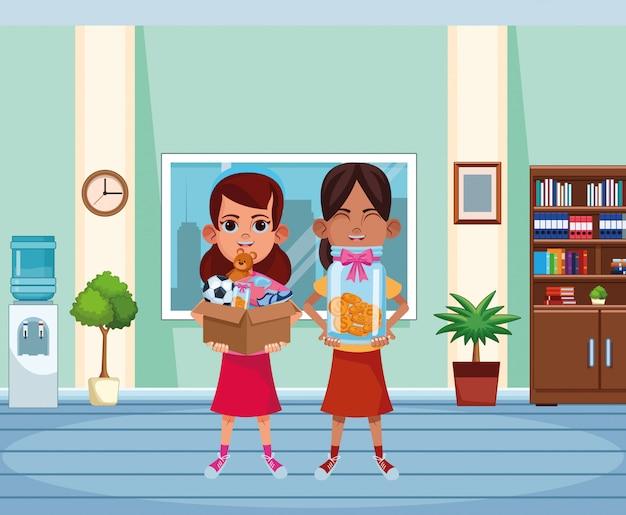 Carattere del cartone dell'avatar dei giovani bambini