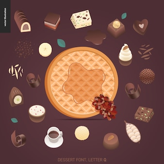 Carattere del dessert - lettera q - illustrazione digitale di concetto moderno di vettore piano del carattere di tentazione, iscrizione dolce. caramello, caramello, biscotto, waffle, biscotto, panna e lettere di cioccolato