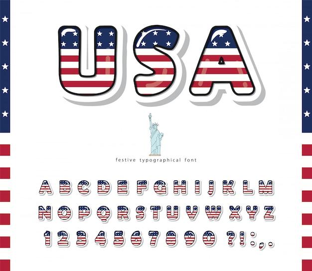 Carattere del fumetto usa colori della bandiera nazionale degli stati uniti d'america. alfabeto con lettere e numeri