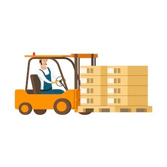 Carattere del magazzino che guida l'automobile del carrello elevatore con la scatola