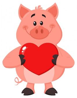 Carattere del maiale che tiene un cuore di amore di san valentino