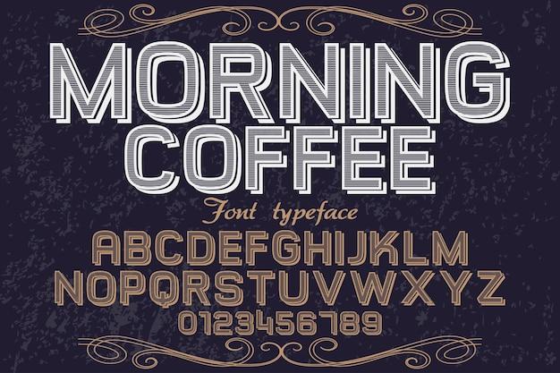 Carattere del mattino alfabeto design caffè