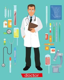 Carattere del medico con icone mediche.