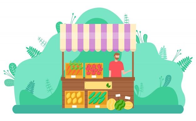 Carattere del mercato di primavera che vende verdure all'aperto