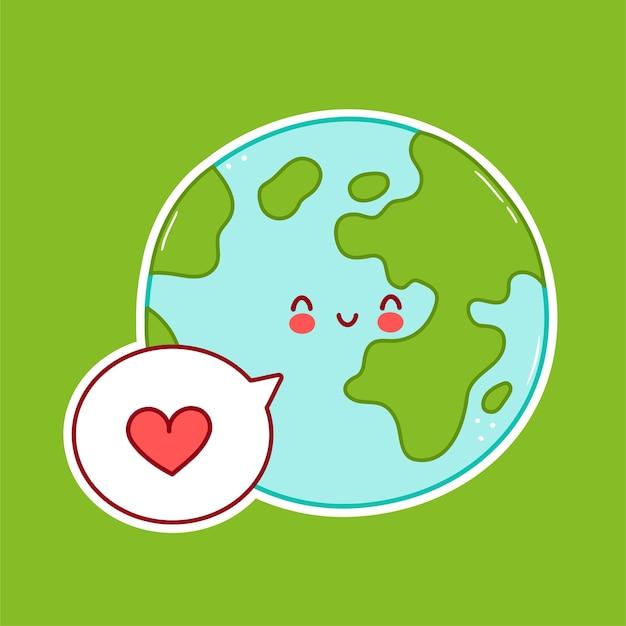Carattere del pianeta terra divertente felice sveglio con il cuore nel fumetto. disegno dell'icona dell'illustrazione del personaggio dei cartoni animati. isolato su sfondo bianco