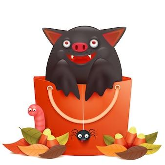 Carattere del pipistrello emotivo simpatico cartone animato seduto in borsa di vendita. composizione di halloween