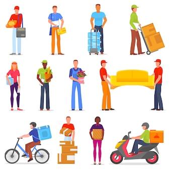 Carattere del postino di vettore del corriere di servizio di consegna che consegna la scatola del pacchetto o l'illustrazione del pacchetto