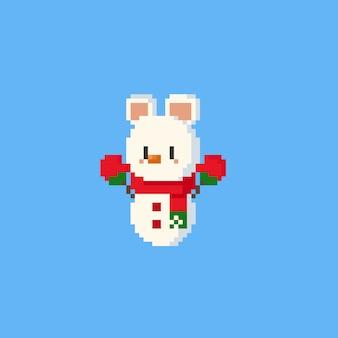 Carattere del pupazzo di neve dell'orso polare di pixel. christmasn 8bit.
