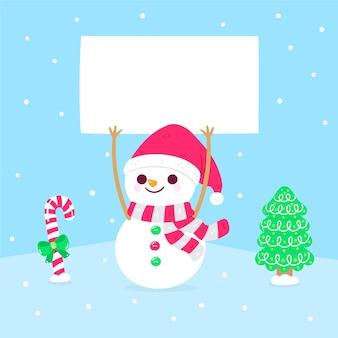 Carattere del pupazzo di neve di natale che tiene bandiera in bianco