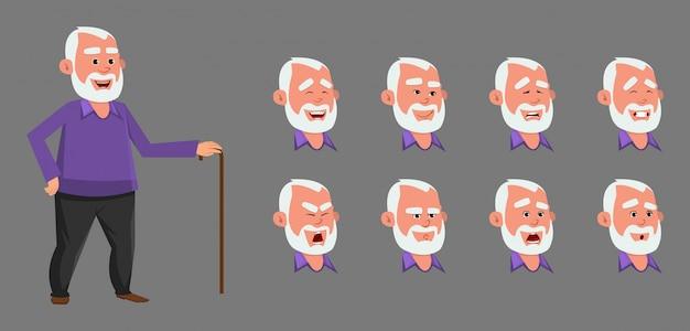 Carattere del vecchio con diverse emozioni ed espressioni.