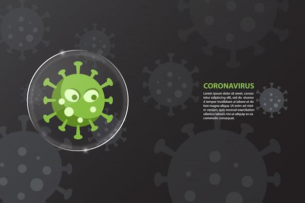Carattere del virus all'interno della lente di vetro coronavirus covid-19 su sfondo nero. concetto di assistenza sanitaria e medica.