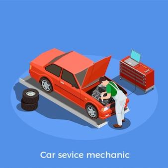 Carattere dell'illustrazione automobilistica del meccanico di autoveicolo del riparatore