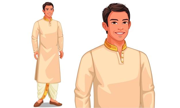 Carattere dell'illustrazione dell'uomo indiano con l'attrezzatura tradizionale