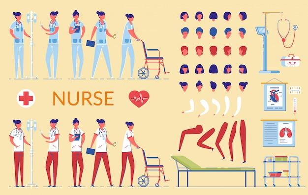 Carattere dell'infermiera in strumenti infermieristici uniformi dell'ospedale.