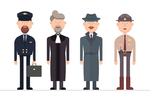 Carattere dell'uomo con l'illustrazione di diverse professioni