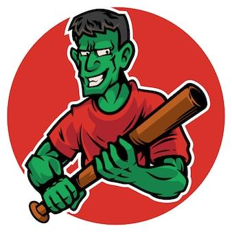 Carattere dell'uomo di zombie di halloween che tiene il suo bastone da baseball