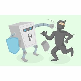 Carattere della cassetta di sicurezza contro l'illustrazione di vettore dei ladri