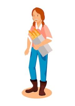 Carattere della donna che tiene pane homebaked