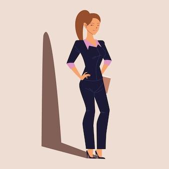 Carattere della donna di affari, donna sorridente di affari con i documenti