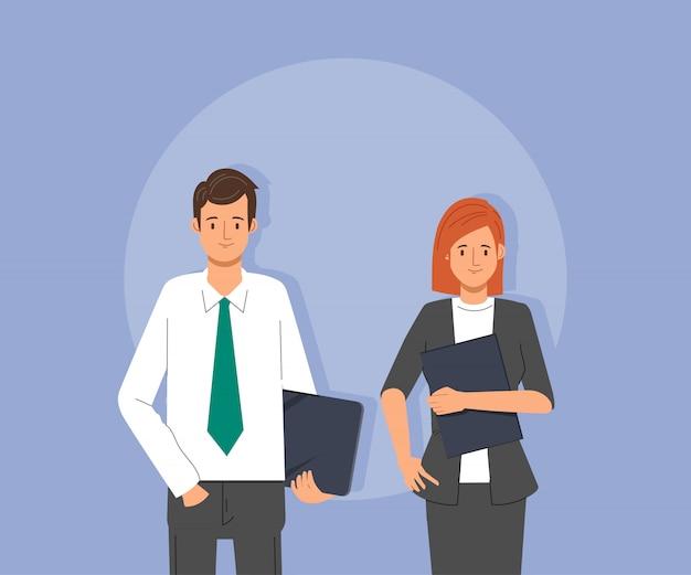 Carattere della donna di affari e dell'uomo d'affari nel lavoro di squadra corporativo.