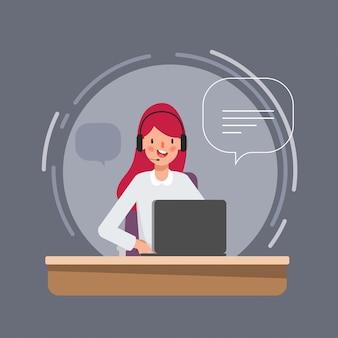 Carattere della donna di affari nel lavoro di call center per l'animazione.