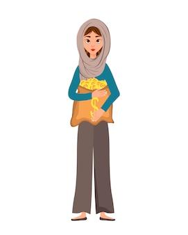 Carattere della donna in una sciarpa con una borsa di soldi su bianco.