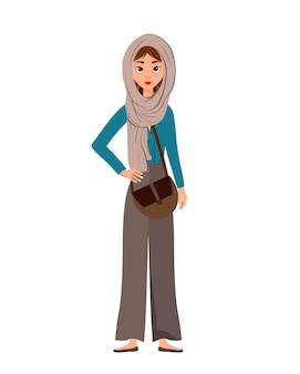 Carattere della donna in vacanza con una sciarpa e una borsa su fondo bianco