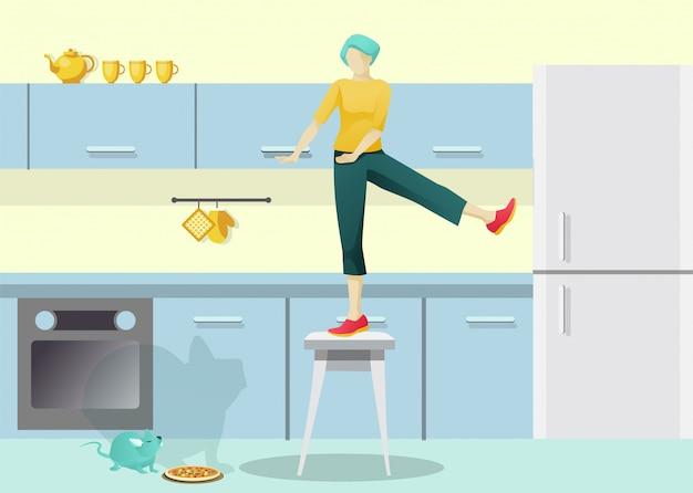 Carattere della donna spaventato fumetto sulla sedia in cucina