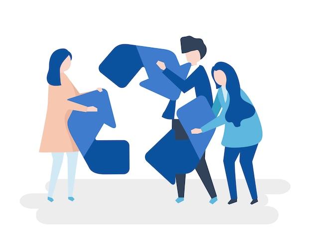 Carattere della gente che tiene un'illustrazione di simbolo di riciclaggio