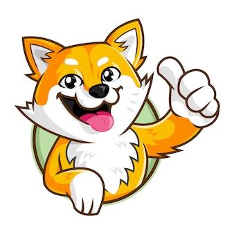 Carattere della mascotte del cane di shiba inu, modello sorridente di logo del fumetto del cane