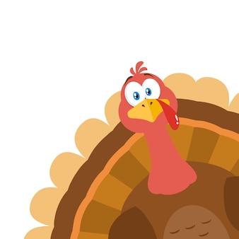 Carattere della mascotte del fumetto dell'uccello della turchia che dà una occhiata da un angolo.