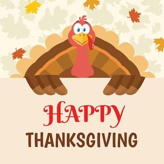 Carattere della mascotte del fumetto dell'uccello della turchia che tiene un segno felice di ringraziamento