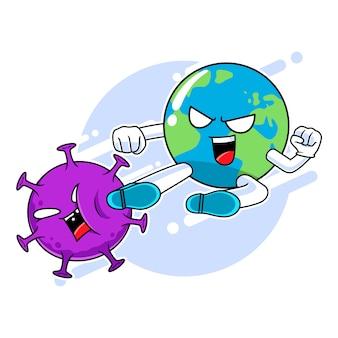 Carattere della mascotte della terra che dà dei calci al virus della corona, lotta contro il concetto del virus