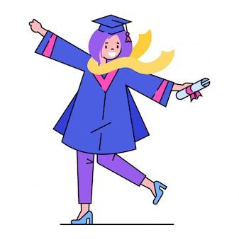 Carattere della ragazza di graduazione, diploma della tenuta dello studente di graduazione della scuola in cappello su bianco, illustrazione. completamento dell'istruzione secondaria.