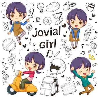 Carattere della ragazza e doodle