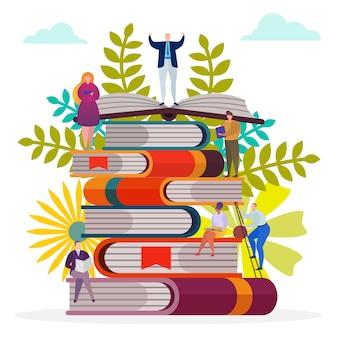 Carattere dello studente alla pila di libro, illustrazione. la gente legge conoscenza, studio donna uomo nel concetto di biblioteca. educazione dei cartoni animati