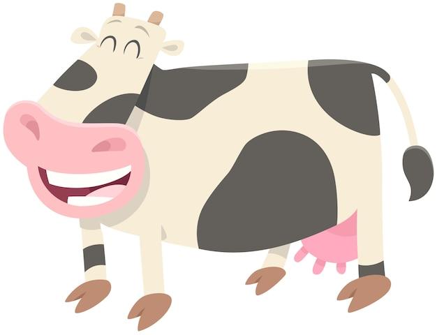 Carattere di animale da fattoria felice mucca da latte
