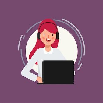 Carattere di animazione della donna di affari nel lavoro di call center.