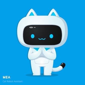 Carattere di assistenza robot ai robot gatto carino nel rispettare le illustrazioni di azione